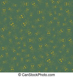 Skull Cross Bones Seamless Pattern Isolated on Green...