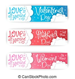 Romantic banners design for holidays - Set banners for the...