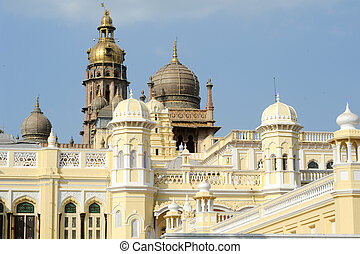 Detail of the ancient Mysore palace on India