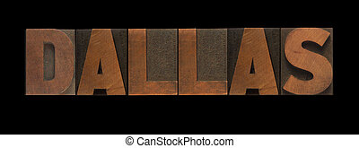 Dallas - the word Dallas in old letterpress wood type