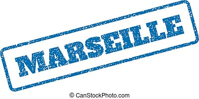 Marseille Rubber Stamp - Blue rubber seal stamp with...