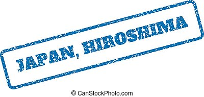 Japan Hiroshima Rubber Stamp - Blue rubber seal stamp with...