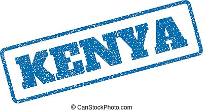Kenya Rubber Stamp - Blue rubber seal stamp with Kenya text....