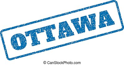 Ottawa Rubber Stamp - Blue rubber seal stamp with Ottawa...