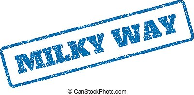 Milky Way Rubber Stamp - Blue rubber seal stamp with Milky...