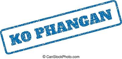 Ko Phangan Rubber Stamp - Blue rubber seal stamp with Ko...