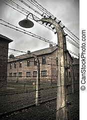 concentration camp - wired electric fence in Austwitz...
