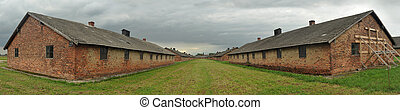 Birkenau - panorama photo of old barracks in concentration...