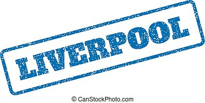 Liverpool Rubber Stamp - Blue rubber seal stamp with...