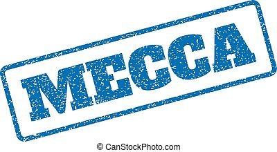 Mecca Rubber Stamp - Blue rubber seal stamp with Mecca text....