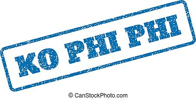 Ko Phi Phi Rubber Stamp - Blue rubber seal stamp with Ko Phi...