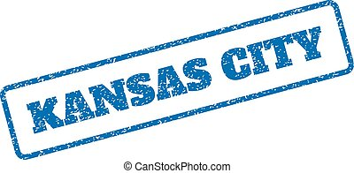 Kansas City Rubber Stamp - Blue rubber seal stamp with...