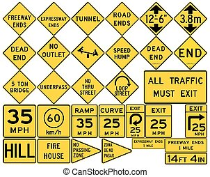 Road signs in the United States. Low Clearances, Advisory...