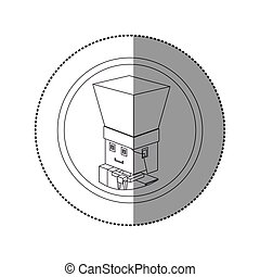 silhouette sticker lego with portrait male chef shading ....