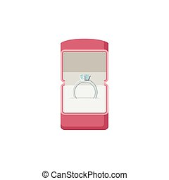 Ring with cover in flat style. Open box with wedding ring...
