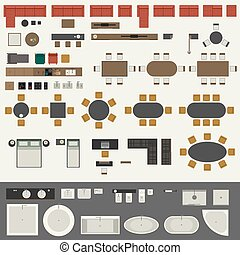 Furniture set - Icons set of interior elements, top view....