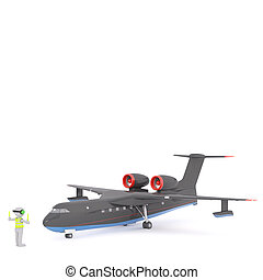 Cartoon Air Traffic Controller Directing Airplane - 3d...