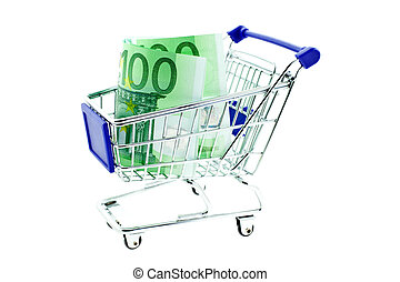 shopping trolley with 100 euro notes isolated on white...
