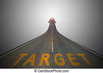 business concept background - The target words on the...