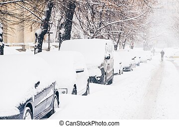 Cars Covered With Fresh White Snow After A Heavy Blizzard In...