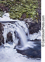 Snowy waterfall in Iceland's highlands - A waterfall...