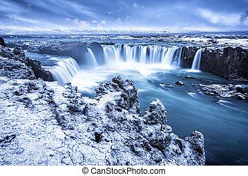 Godafoss waterfall in Iceland - Godafoss Falls during...