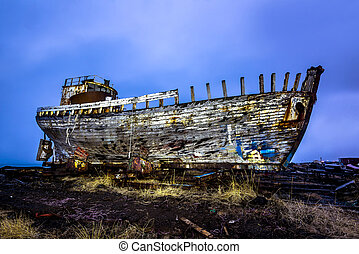 Old wooden ship on beach - An old abandoned whaling ship...