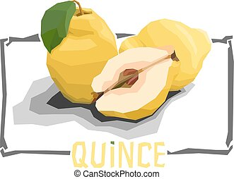 Vector simple illustration of fruit quinces. - Vector simple...