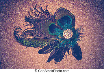 Peacock Feather Hair Clip Filtered - Fashion hair clip...