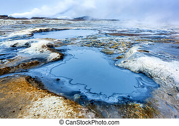 Hverir Steam vents in Iceland - Natural steam rising from...