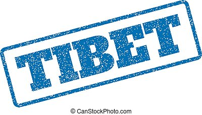 Tibet Rubber Stamp - Blue rubber seal stamp with Tibet text....