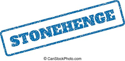 Stonehenge Rubber Stamp - Blue rubber seal stamp with...