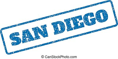 San Diego Rubber Stamp - Blue rubber seal stamp with San...
