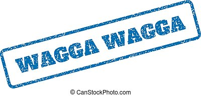 Wagga Wagga Rubber Stamp - Blue rubber seal stamp with Wagga...