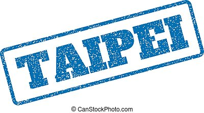 Taipei Rubber Stamp - Blue rubber seal stamp with Taipei...