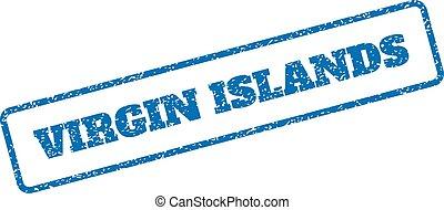Virgin Islands Rubber Stamp - Blue rubber seal stamp with...