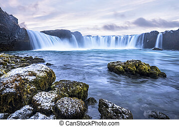 Godafoss waterfall in Iceland - Godafoss Falls during...