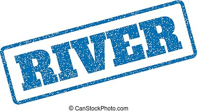 River Rubber Stamp - Blue rubber seal stamp with River text....