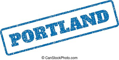 Portland Rubber Stamp - Blue rubber seal stamp with Portland...
