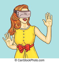 Pop art pretty young woman uses a virtual reality glasses