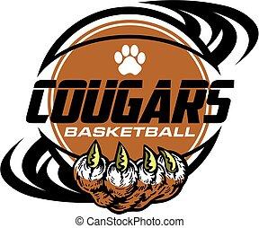 cougars basketball team design with paw print inside ball...