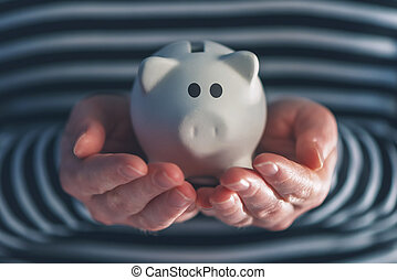 Woman with piggy coin bank, home budget, finance and savings...
