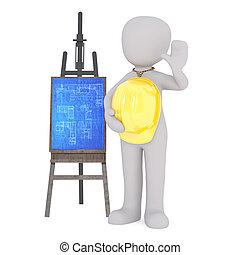 Cartoon Architect with Hard Hat Beside Blueprints - 3d...