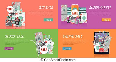 Sale in Electronics Store Vector Concepts Set - Sale in...