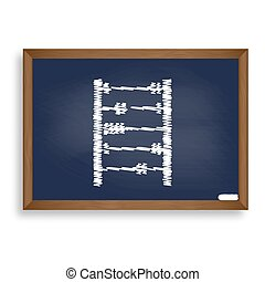 Retro abacus sign. White chalk icon on blue school board...