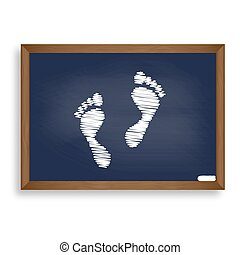 Foot prints sign. White chalk icon on blue school board with...