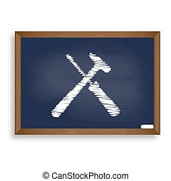 Tools sign illustration. White chalk icon on blue school...