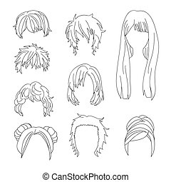 Collection Hairstyle for Man and Woman Hair Drawing Set