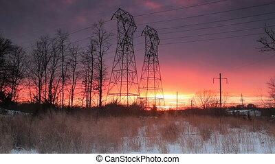 Night sky clouds sunset power lines winter