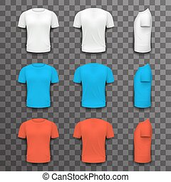 Different Colors T-shirt Front Side Back View Template Realistic 3d Design Icon Set Transparent Background Isolated Vector illustration